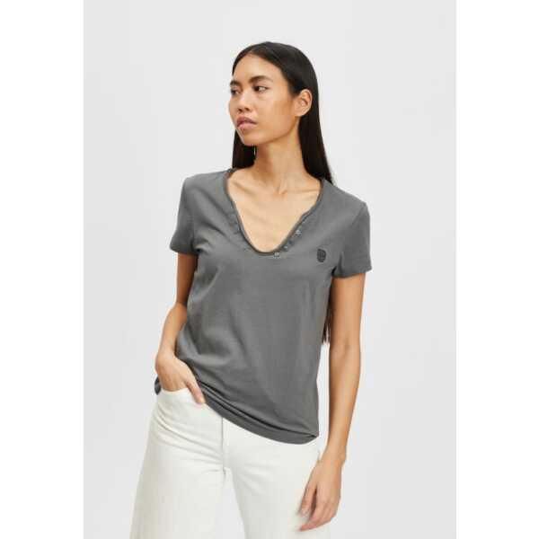 T-SHIRT BLACK and BLACK YASMINELLA DARK GREY Tops & t-shirts Quasimodo Roeselare